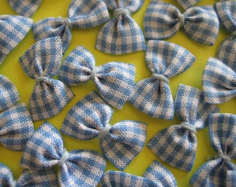 Blue, White Plaid/Gingham Bows for Sewing, Crafting, Doll's Clothing, Scrapbook Embellishment, 1 inch/ 25 mm, 30 pieces