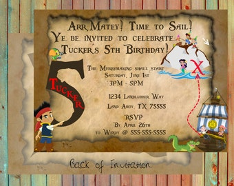 Jake and the Neverland Pirates Inspired Personalized Birthday Invitations (Printed)