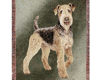 Personalized Airdale Dog Throw Blanket