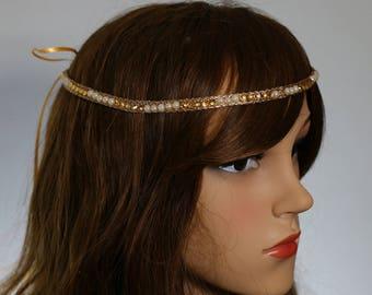 Gold Beads and Pearls Lace Headband, Beaded Hiedpiece,Wedding Headband,Gatsby Headpiece, Bridal Headpiece, Boho Headband, Cristmas Headpiece