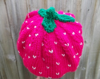 """Raspberry beret slouchy hat 54-56 cm comfortable pink hat with flirt factor size (21.3""""-22""""inch) handknit hat green crochet leaves on top"""
