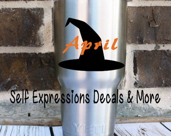 Personalized Witch Hat Decal // Halloween // Yeti tumbler tervis glass