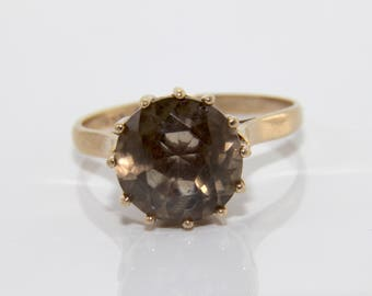 vintage smokey quartz gold ring, smokey quartz ring, quartz ring, smokey quartz gold ring, gold ring, vintage gold ring