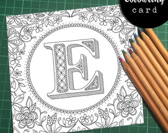 Initial/Letter Colouring Card