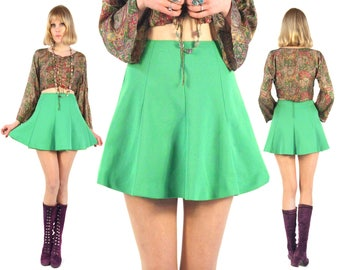 Vtg 60s Lime Green Mini Skirt S