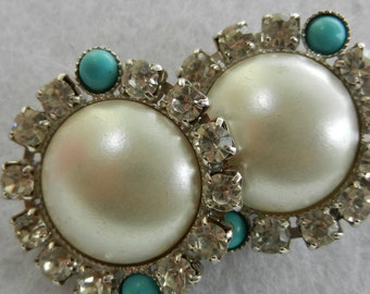 Wedding jewel - Bright earings Italy 1960s - crystals, pearls and turquoise-ideal for the bride-Art.99/2-