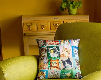 Paint by Number Cats Throw Pillow Cover - vintage paint by number cats - 2-sided printing - 3 sizes