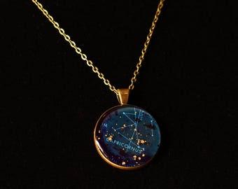 Capricorn Zodiac Pendant w 30inch chain