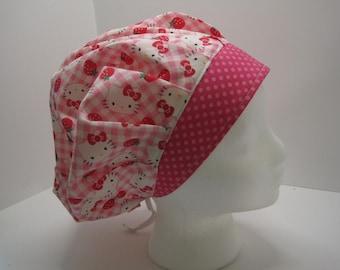 Hello Kitty Bouffant Nurse Scrub Hat, surgical tech, chemo, OR nurse