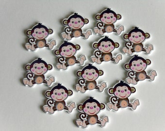 10 Monkey Wooden Buttons #EB30