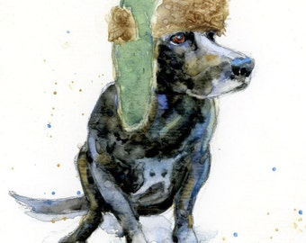 Black Lab in Mad Bomber Hat - Matted Archival Print
