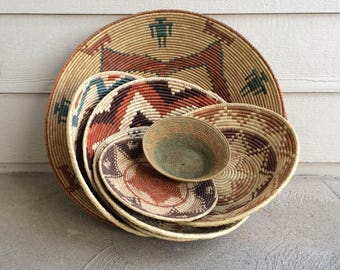 Native American Made Coiled Rope Baskets.Southwest Decor Native American Art Handmade Rope Baskets.Wedding Basket Coiled Rope Bowl Desert