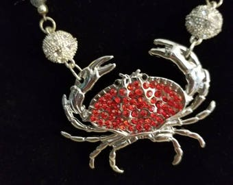Red and silver crab necklace