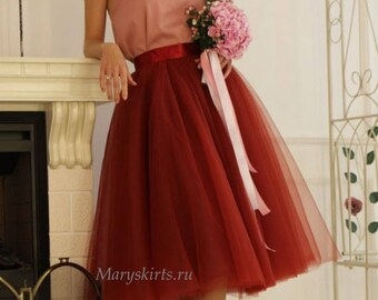 """Tulle skirt with matching lining, fixed waistband with hidden zipper """"sun-shaped""""  (color - Marsala)"""