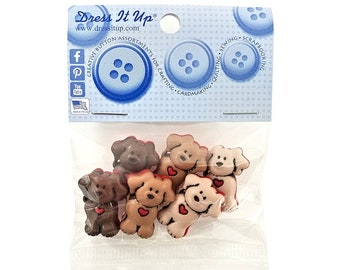 Dogs With Heart Novelty Buttons Jesse James Dress It Up Theme Pack