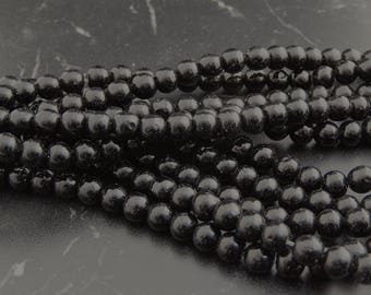 48 8 mm black Agate beads