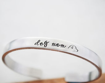 Dog Mom - Pet Mom - Rescue Dog Mom - College Graduation Gift - Hand Stamped Bracelet - Adopt Don't Shop