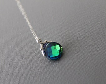 Aqua Green Sphinx Swarovski Briolette Necklace in STERLING SILVER Chain--Weddings Necklace-Bridesmaids Gift,Perfect Gift for friends