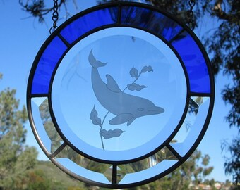 Dolphin Cobalt Blue Stained Glass Beveled Glass Hanging Sun-catcher Panel.