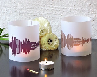 Lantern LOS ANGELES city light, 2 Tablelight in fume and plum, for Los Angeles Lovers, Honeymoon in LA, romantic candlelight,City Shade L.A.