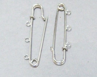 SILVER large safety pins With three loops/Silver safety pins/Large safety pins/Decorate safety pins