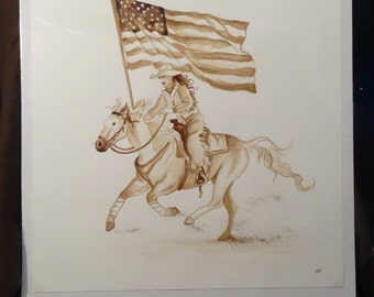 Rodeo, flag, cowgirl, horse,  original, coffee, painting