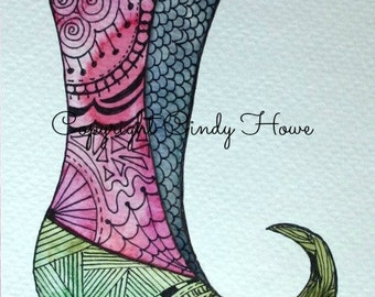 Digital art, digital download, boot, slipper, Zentangle art, zentangle shoe, shoe, fairy boot, fae shoe