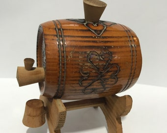 A miniature beer barrel Made of wood
