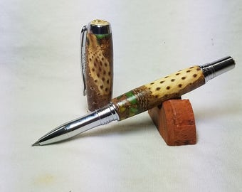 Hand turned pinecone pen with chrome hardware