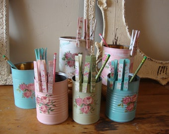 Decorative canisters and clothespins shabby chic office organization metal craft room storage containers paint brush holders floral storage