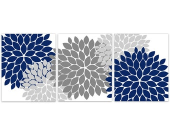 Home Decor Wall Art CANVAS And PRINTS, Blue Grey Wall Art, Flower Burst Art