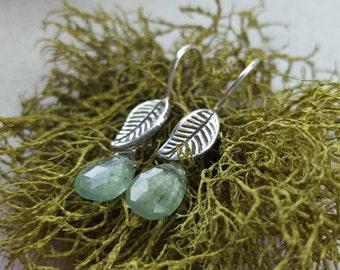 Green Kyanite Earrings with Leaves / Kyanite / Earrings / Dangle Earrings / Leaves / Green Kyanite / Sterling Silver / Gift For Her