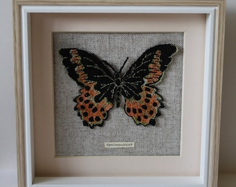 Embroidered Butterfly Picture In a Frame