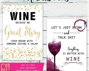 Funny Wine Bottle Labels - DIY Birthday Wine Labels