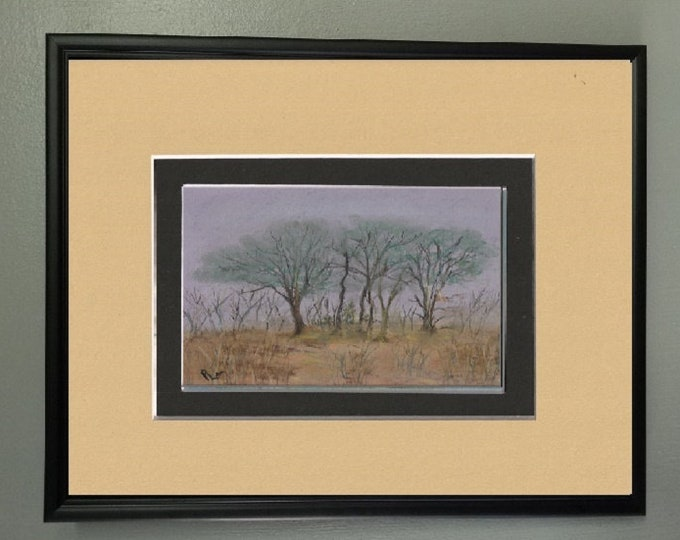 "8x10 Original Pastel Signed Painting, Trees Artwork, Landscape Painting, ""Trees in Isolation...Eerie!"""