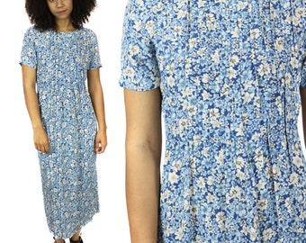 Blue Floral Dress - Vintage Short Sleeve Maxi Dress