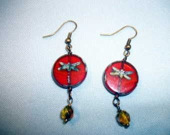 Czech Glass Dragonfly Earrings