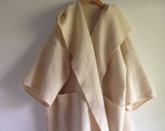 Woollen Soho Kimono Womens Clothing in rich cream Wool Long Style Jacket Coat medium large size with pompoms