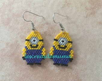 These earrings celebrates weaving brick stich little monster