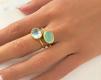 2 Ring Bunble - Gold Ring - Stacking Ring - GemstoneRing