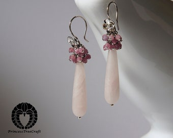 Frosted rose quartz with pink tourmaline earrings