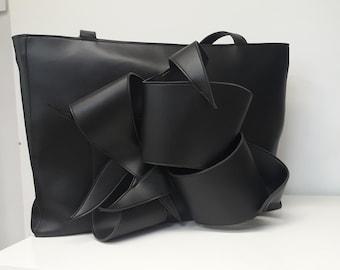 Black Bag for Women,Faux Leather Tote with Zipper,Vegan Bag,Black Faux Leather Shoulder Bag,Gift for Her,ATTITUDE157 Womens Handbag,AT0315