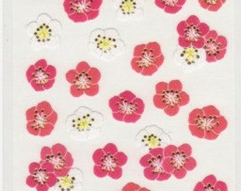 Plum Blossom Stickers - Ume Stickers - Paper Stickers - Gold Trim - Reference A6225-27