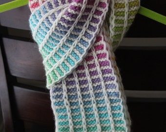 PATTERN for Rainbow Slip Stitch Scarf