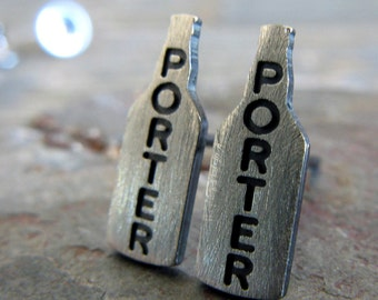 Tiny craft beer bottle Porter stud womens earrings. Beer jewelry. Micro brew lover. Brewery love. Sterling silver or 14k gold for her