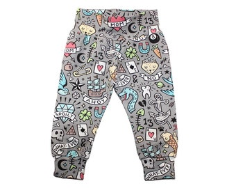 Tattoo Leggings - Boys Leggings - Girls Leggings - Tattoo Doodle Pants - Baby Leggings - Toddler Leggings - Baby Pants - Gray Tattoo Pants