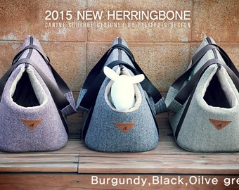 Pet carrier, Dog carrier: The Herringbone (customized NAMETAG is added!)