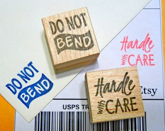 Do Not Bend Rubber Stamp//Handle with Care Rubber Stamp// Packaging Rubber Stamp - Handmade by BlossomStamps