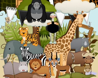 Animal Scrapbook, Animal Scrapbook Kit, Jungle Scrapbook, Instant Download, Animal Clipart, Wild Animals, Zoo Scrapbook