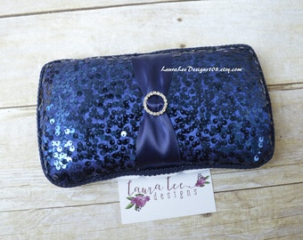 READY TO SHIP, Exclusive Navy Blue Sequin Travel Baby Wipe Case, Diaper Wipecase, Bling Wipe Holder, Baby Shower Gift, Diaper Wipe Clutch